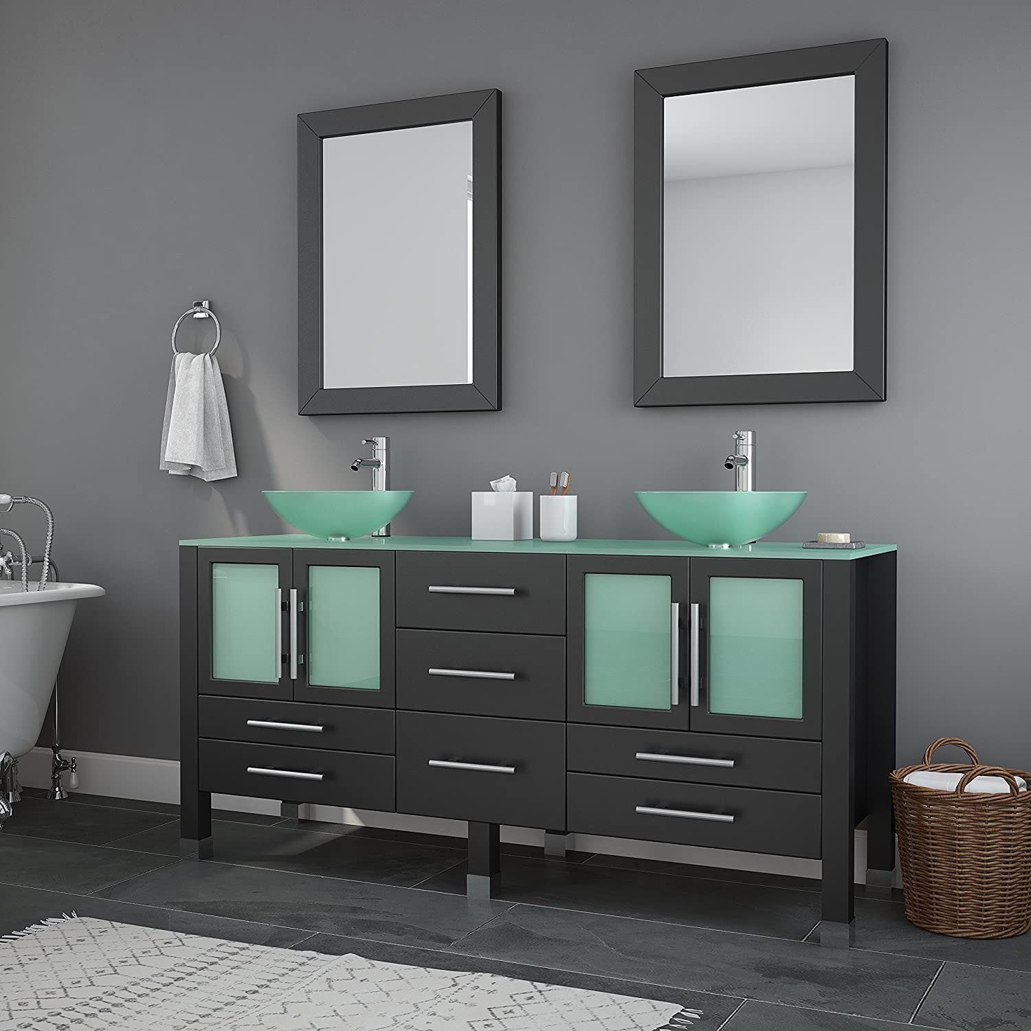 63 Inch Espresso Wood Glass Double Sink Bathroom Vanity Set- Oregon Brushed Nickel Faucets