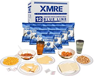 XMRE Blue LINE Food Packs Shelf Stable, Fully Cooked Ready to Eat Meal Kit- No Refrigeration - Great for Camping, Backpacking or Disaster Preparedness Case Includes 12 Full Meals