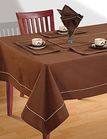 Cinnamon Brown Table Linen Set For 6 Seat Table: Includes Rectangular  Tablecloth, 6 Napkins