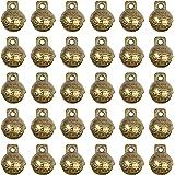 AUEAR, 30 Pack Antique Gold Bells Tibetan Brass Bells Vintage Indian Bells Charms Pendants for Pet Bell Dog Collar Bells Craf