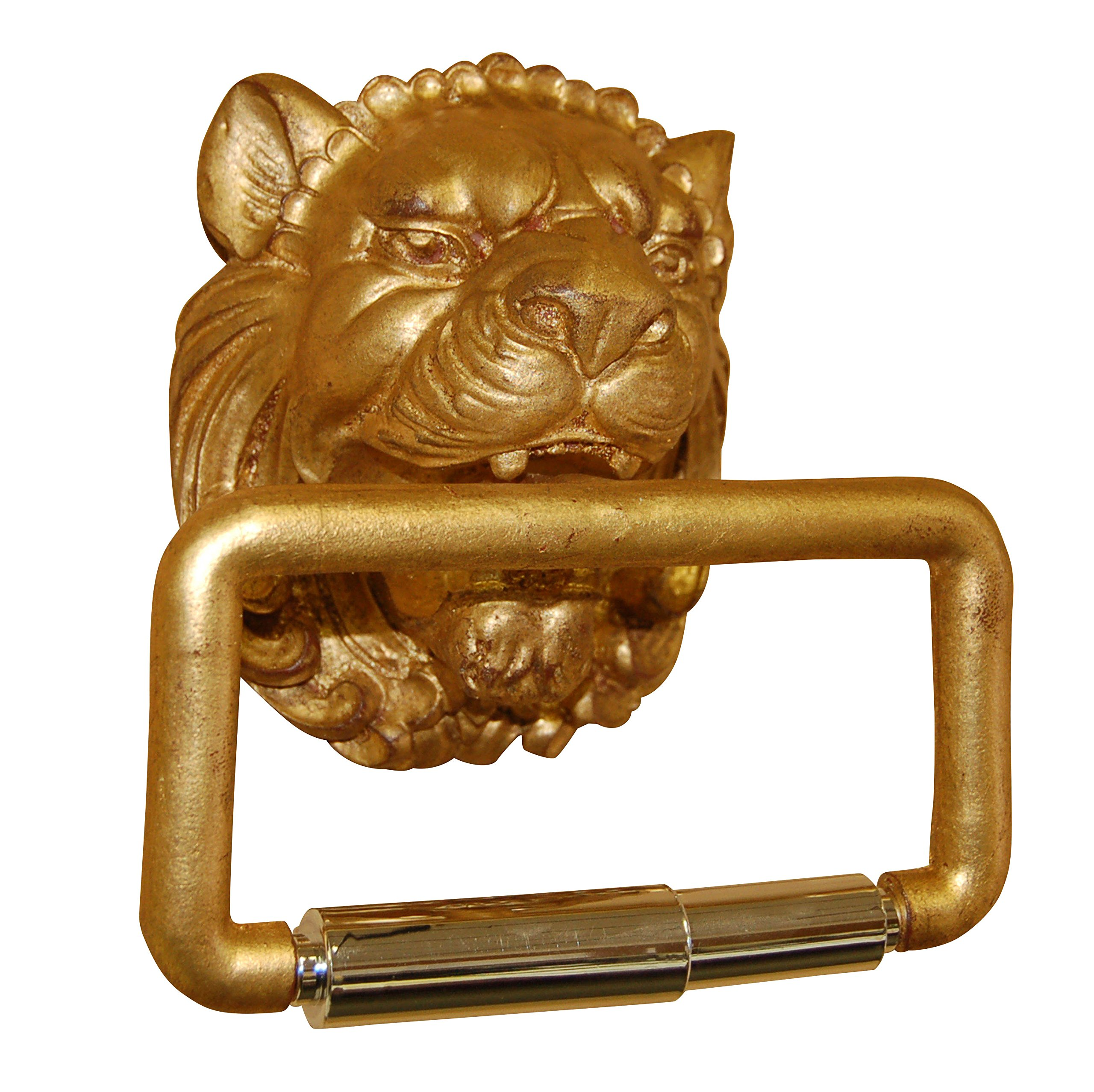 Hickory Manor House Lion Head Toilet Paper Holder, Gold Leaf by Hickory Manor House
