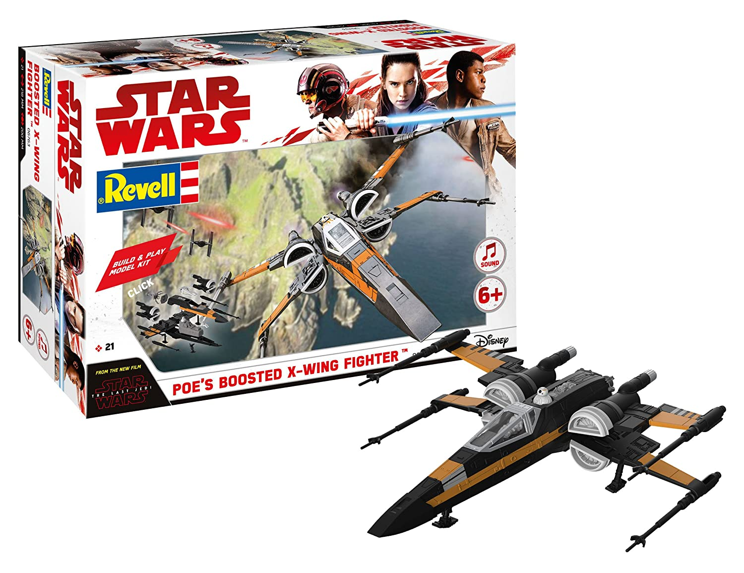 Revell 06763 Star Wars Episode VIII Build & Play Poe's Boosted XWing, With Lights & Sounds