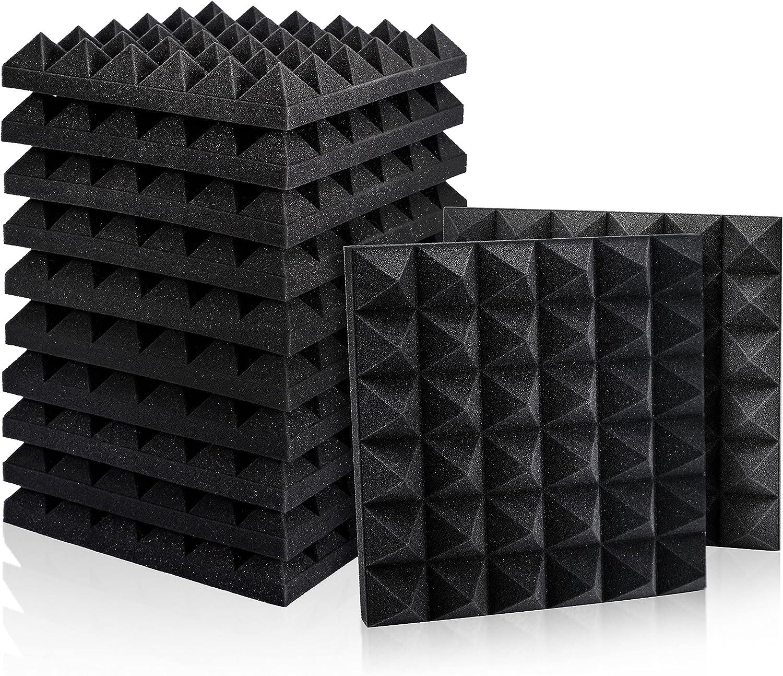 "Amazon.com: 12 Pack Set Acoustic Foam Panels, Studio Wedge Tiles, 2"" X 12"" X 12"" Acoustic Foam Sound Absorption Pyramid Studio Treatment Wall Panels: Musical Instruments"