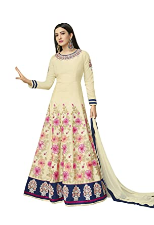 Crazy Bachat Presents Indian Ethnic Casual Wear Off White Salwar Kameez Suits Semi Stiched