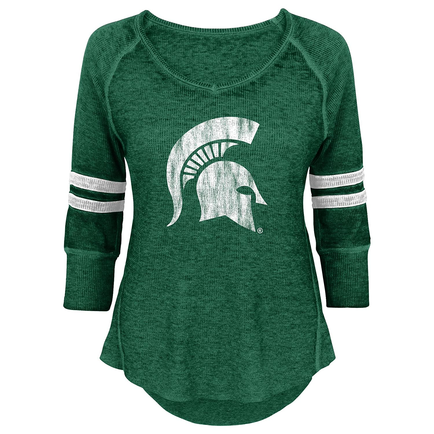 Team Color Large 11-13 NCAA Michigan State Spartans Juniors Outerstuff Relaxed 3//4 Raglan Thermal Top
