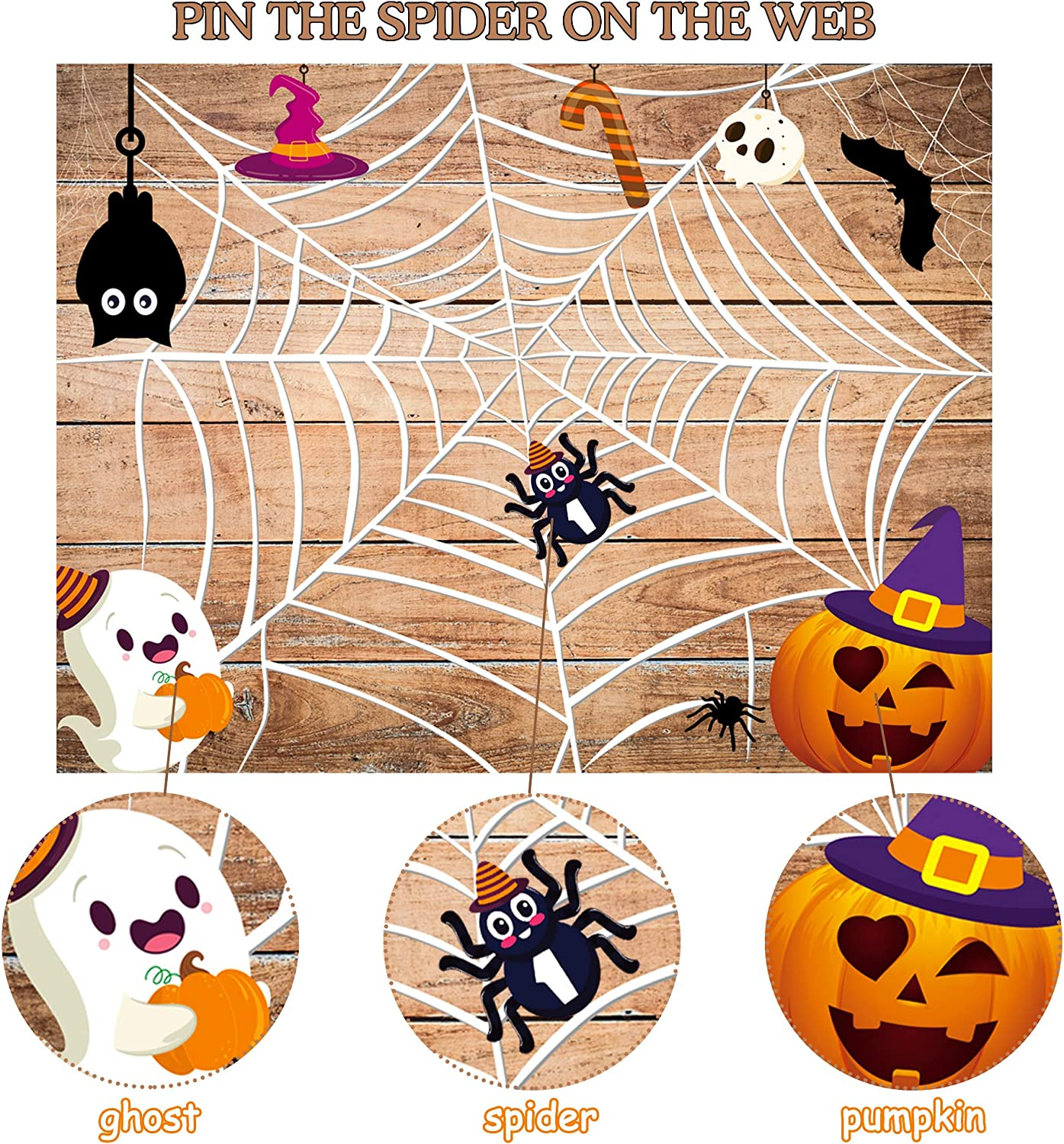 WATINC Halloween Party Sticker Games Halloween Party Decoration Happy Halloween Birthday Party Favors Supplies Pin The Spider On The Web Game Poster for Kids Halloween Class Party Game Activities