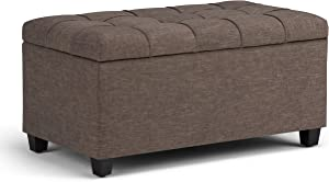 Simpli Home AXCOT-258-BRL Sienna 34 inch Wide Traditional Rectangle Storage Ottoman Bench in Fawn Brown Linen Look Fabric