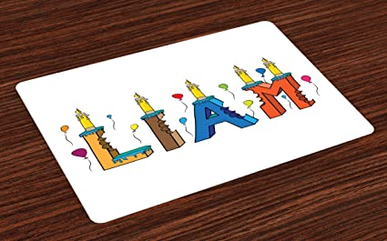 Amazon Com Ambesonne Liam Place Mats Set Of 4 English First Name