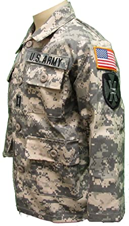 Kid's ACU Army Jacket with Authentic Patches and Hook/Loop