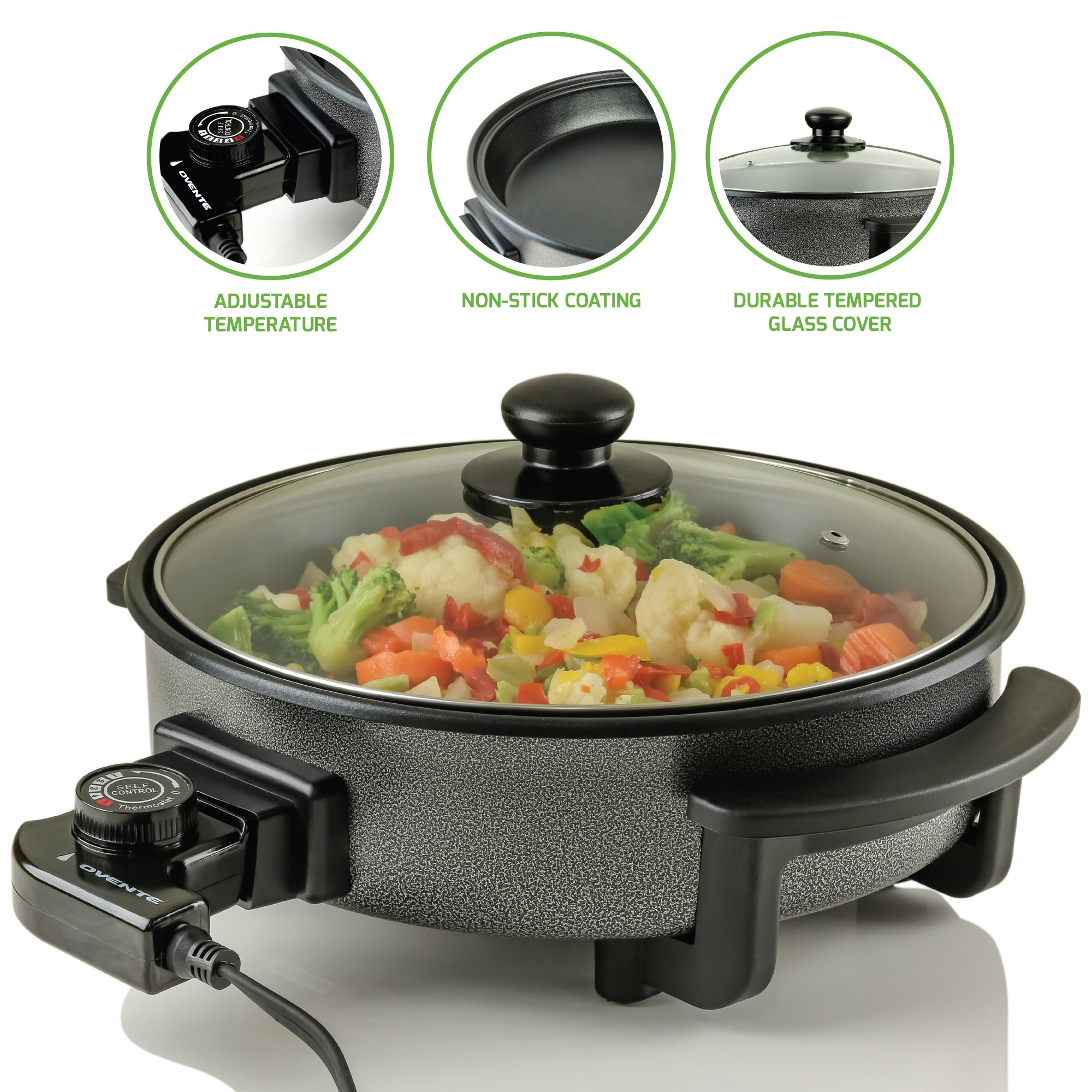 Ovente SK11112B Electric Skillet with Non-Stick Aluminum Body, 12 Inch, 1400-Watts, Temperature Controller, Tempered Glass Cover, Cool-Touch Handles, Black