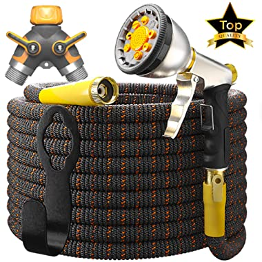 [UPGRADED 2019] 50 Feet Expandable Garden Water Hose - Superior Strength 3750D | 4-Layers Latex | Extra-Strong Brass Connectors | 10-Way Durable Zinc Spray Nozzle, 2-Way Pocket Flexible Splitter