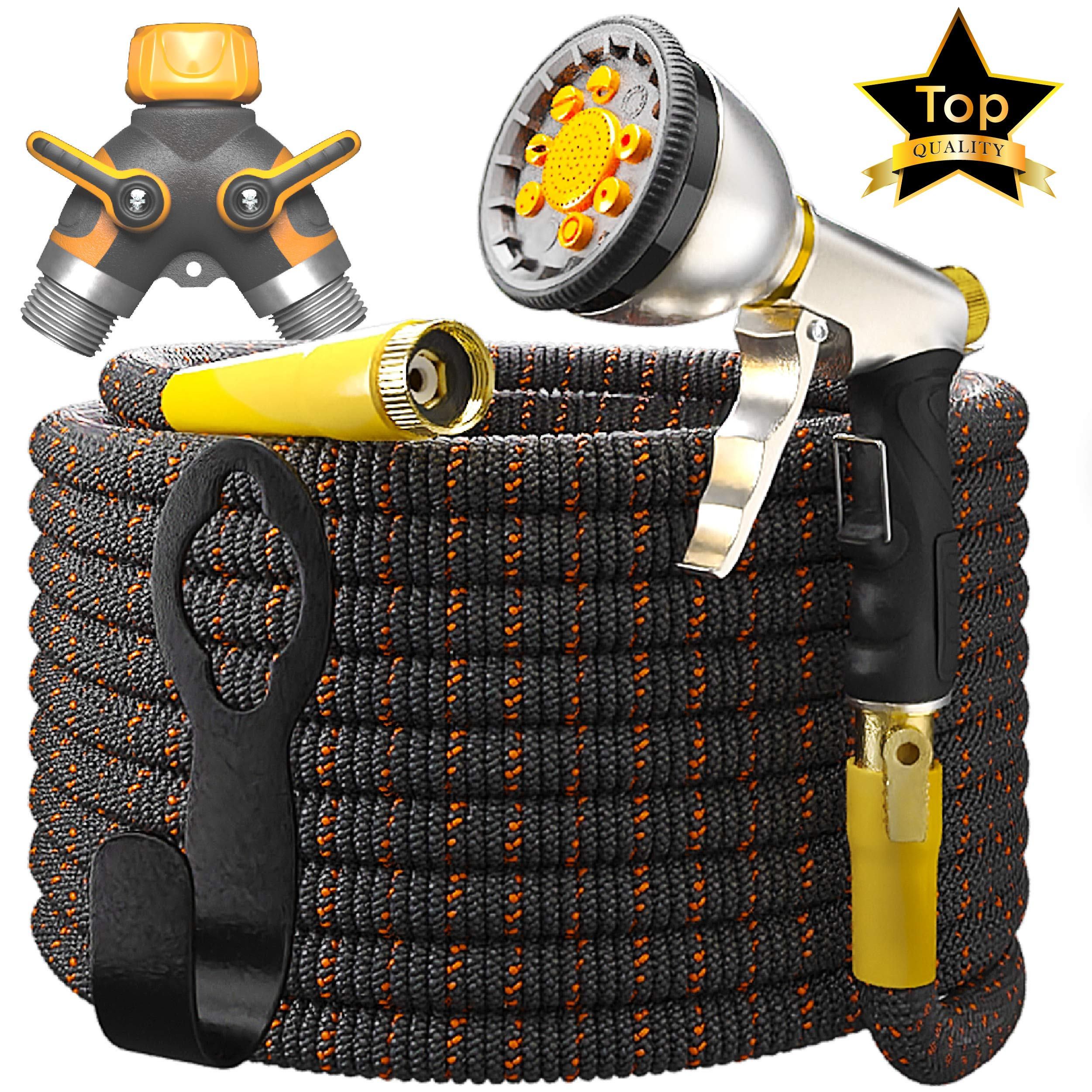 [UPGRADED 2019] 50 Feet Expandable Garden Water Hose - Superior Strength 3750D | 4-Layers Latex | Extra-Strong Brass Connectors | 10-Way Durable Zinc Spray Nozzle, 2-Way Pocket Flexible Splitter by TBI Pro (Image #1)