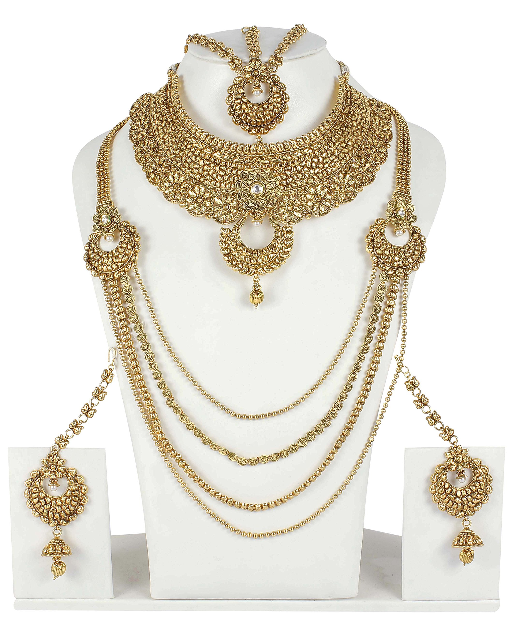 Ethnic Traditional Gold Tone Polki Indian Bridal Necklace Set Wedding Wear Jewelry
