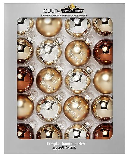 Christbaumkugeln Amazon.Heitmann Deco Krebs Sohn 20er Set Glas Christbaumkugeln Weihnachtsbaum Deko Zum Aufhangen Weihnachtskugeln 5 7 Cm Braun Silber