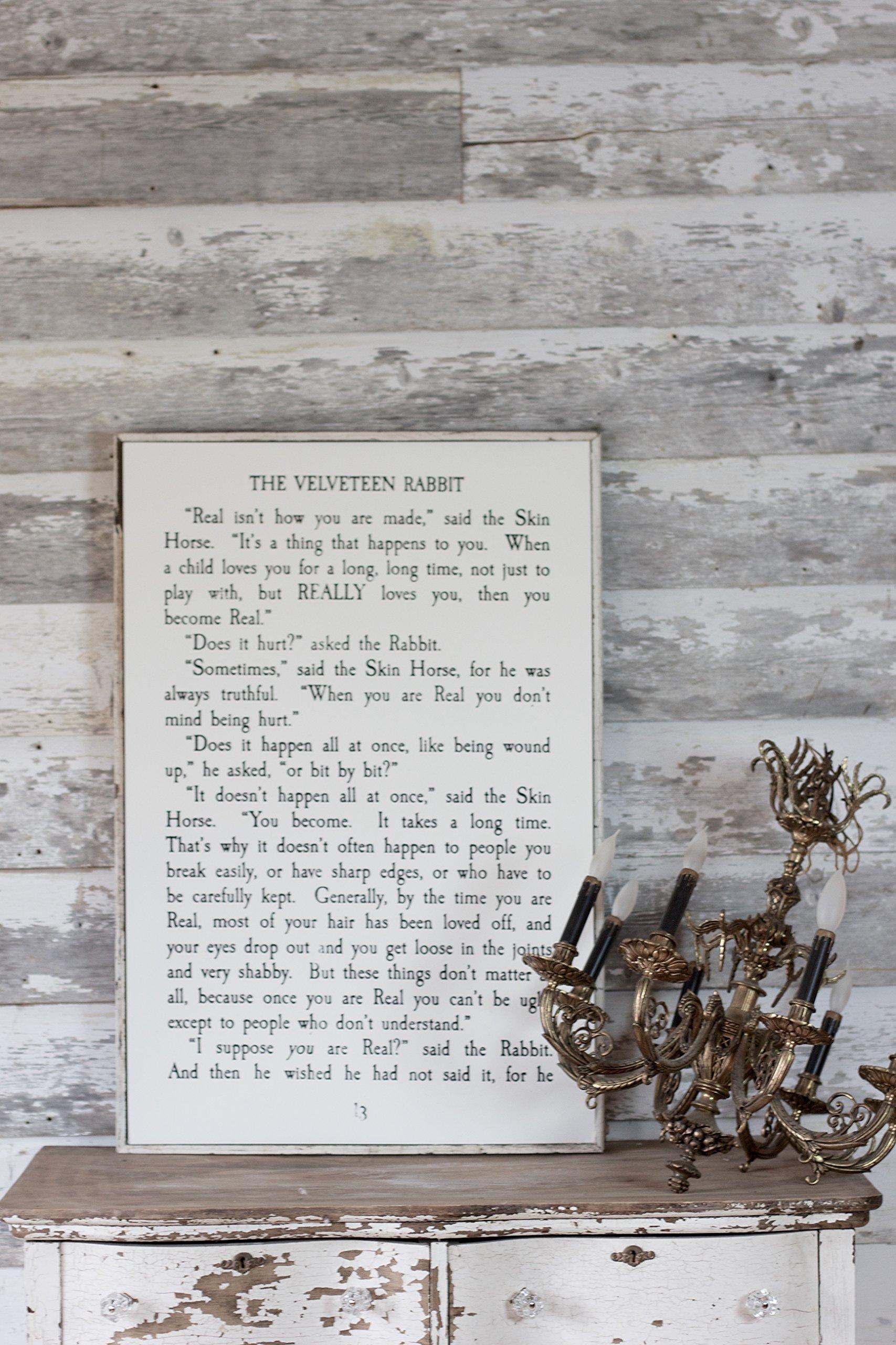 Velveteen Rabbit - hand printed wooden panel