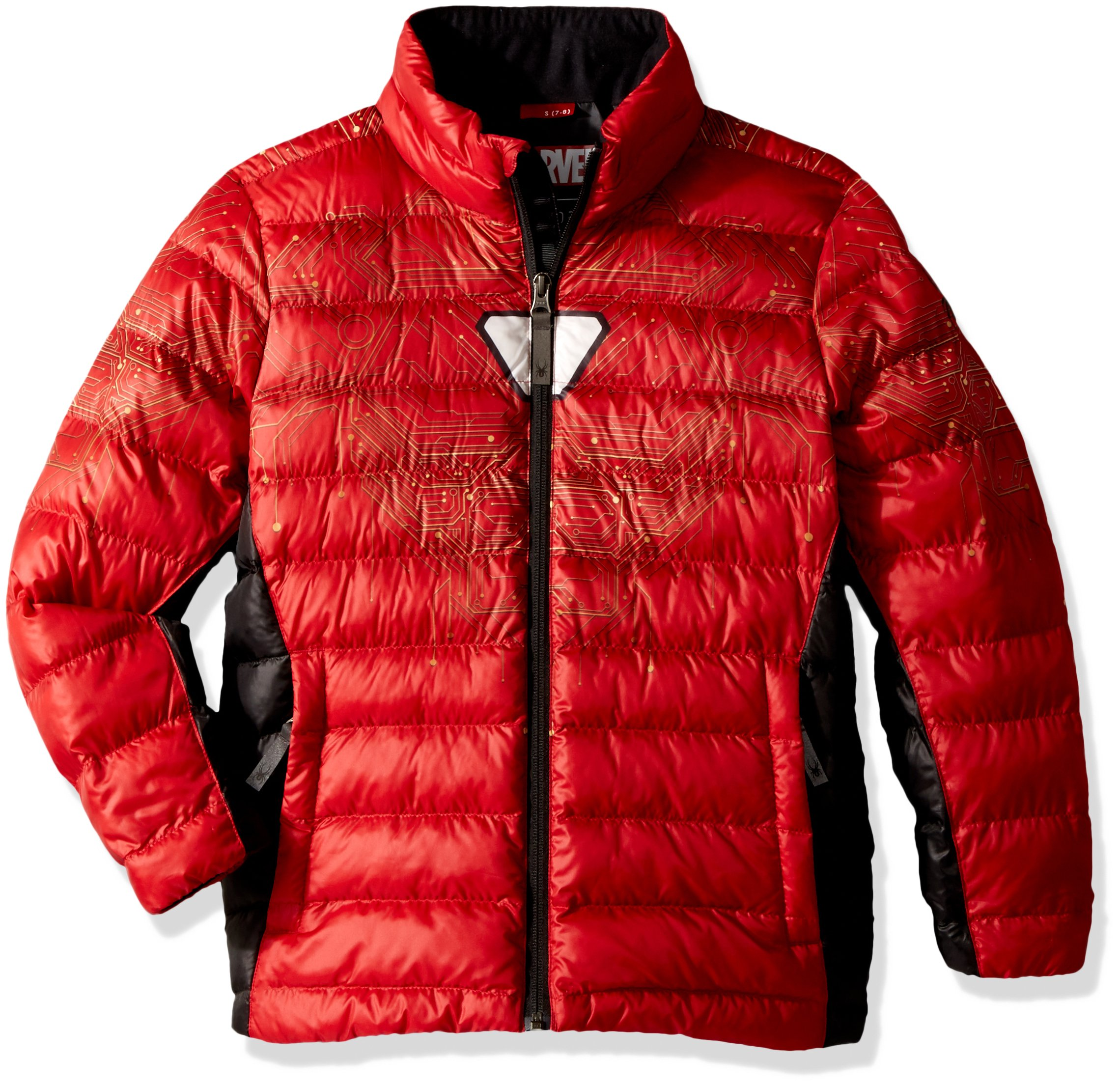Spyder Boy's Marvel Prymo Synthetic Down Jacket, Red/Ironman, Small
