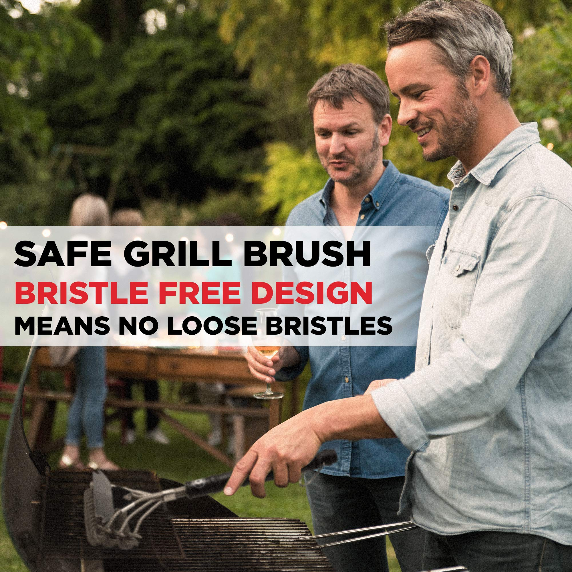 Alpha Grillers Grill Brush Bristle Free. Best Safe BBQ Cleaner with Extra Wide Scraper. Perfect 18 Inch Stainless Steel Tools for All Grill Types, Including Weber. Ideal Barbecue Accessories by Alpha Grillers (Image #2)