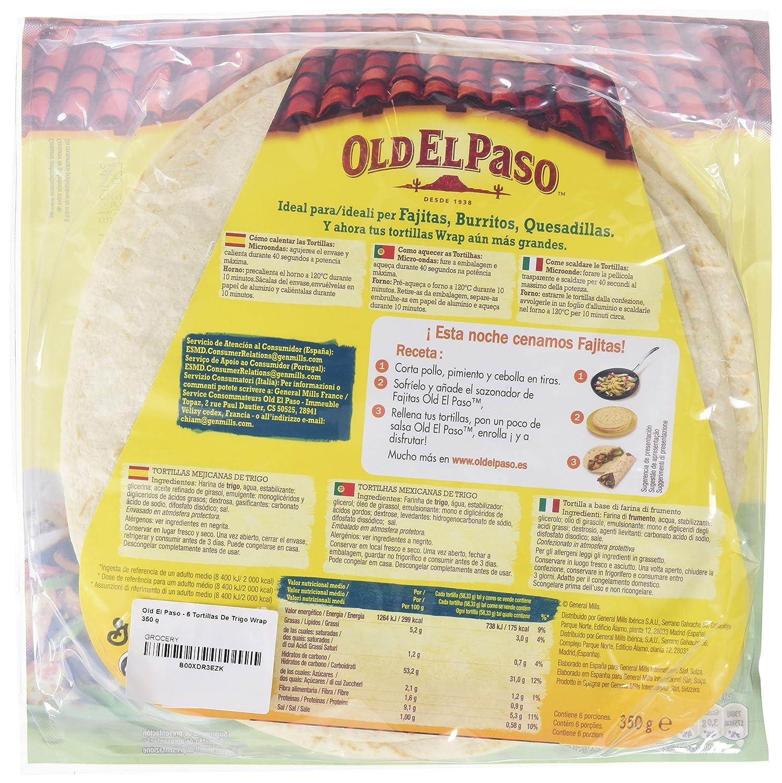 Old El Paso - 6 Tortillas De Trigo Wrap 350 g: Amazon.es: Alimentación y bebidas