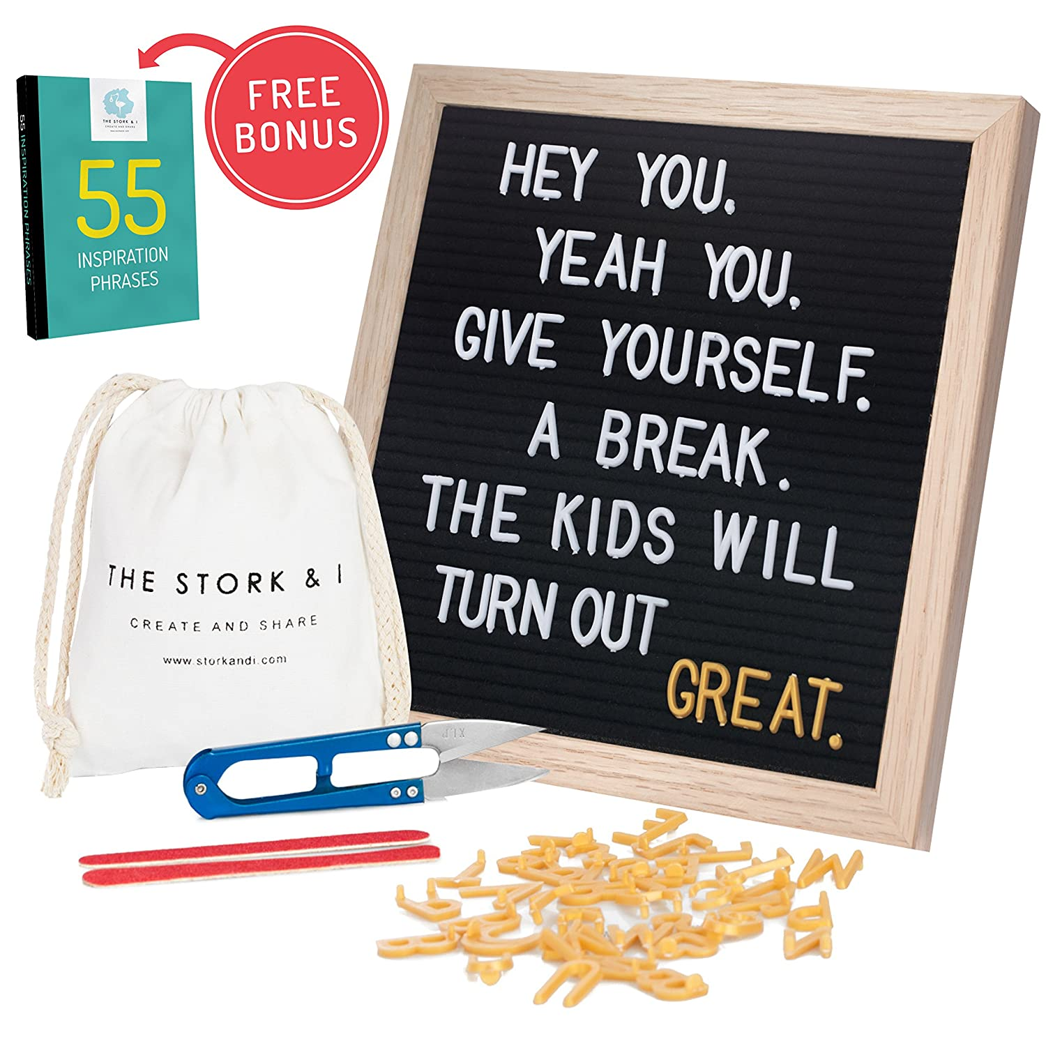 Felt Letter Board With Stand and Wall Mount, 10 x 10 Changeable Message Board With Oak Frame, 540 White and Gold Letters, Numbers, Emojis and Symbols, Wooden Characters Signs Letterboard (Black) The Stork & I