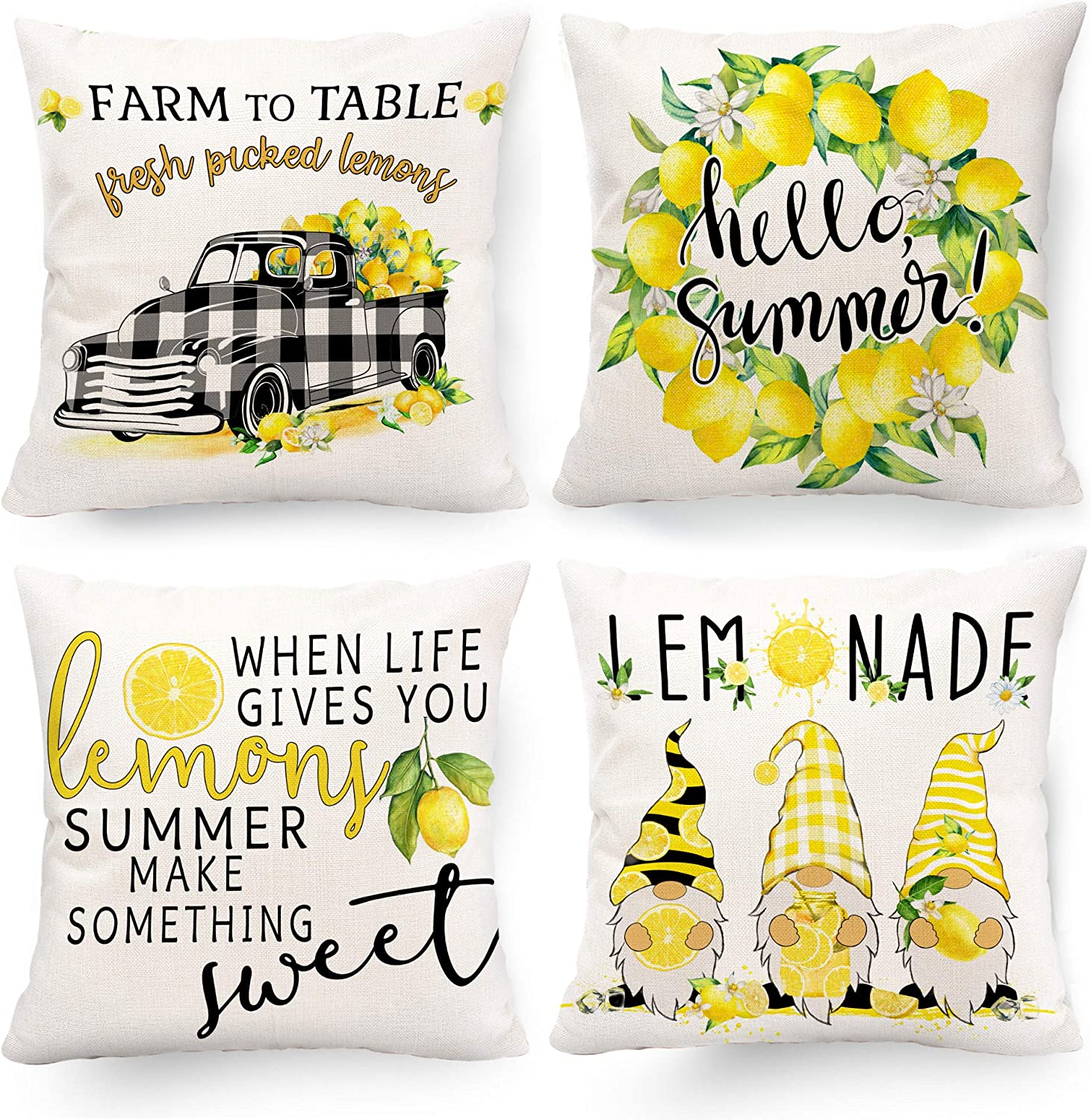 Hexagram Decorative Summer Pillow Covers 20 x 20, Linen Yellow Lemon Decor Buffalo Plaid Truck Gnomes Patterned Throw Pillow Covers Set of 4 for Living Room Couch Sofa Patio Summer Yellow Home Decor