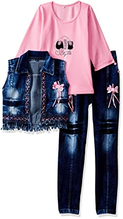 63267d4be6b Arshia Fashions Girls Party Wear Top Jeans and Jacket Set - GR261 ...