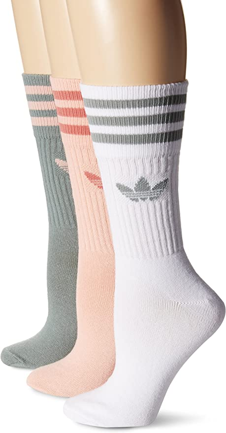 adidas BR6637 Originals Pastel Camo Crew Socks, 6 8.5, White