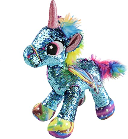 Adorable Stuffed Unicorn Plush Toy with Rainbow Hair Gifts for Kids Toddlers