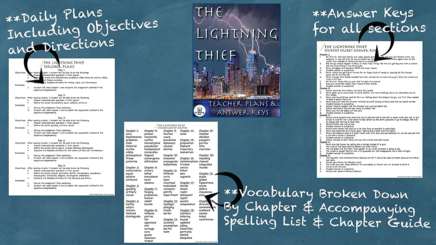 Amazon.com : The Lightning Thief Novel Study Book Unit CD : Teachers  Professional Development Resources : Office Products