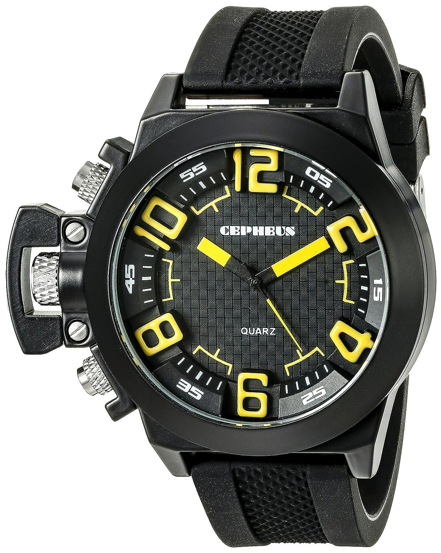 CEPHEUS CP901-622C - Reloj analógico de Cuarzo para Hombre con Correa de Silicona, Color Negro
