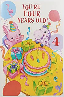 Youre Four Years Old Happy Birthday Greeting Card