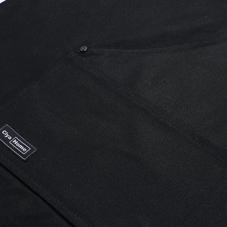 de Clya Home para hombre o mujer Delantal de trabajo de lona encerada con bolsillos de gran tama/ño y tirantes cruzados en la espalda color negro perfecto para usar en casa o en el taller