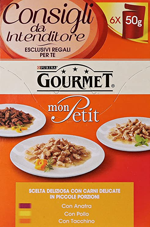 Gourmet Mon Petit, Comida para Gatos, pequeñas porciones de 3 Sabores (Pato,