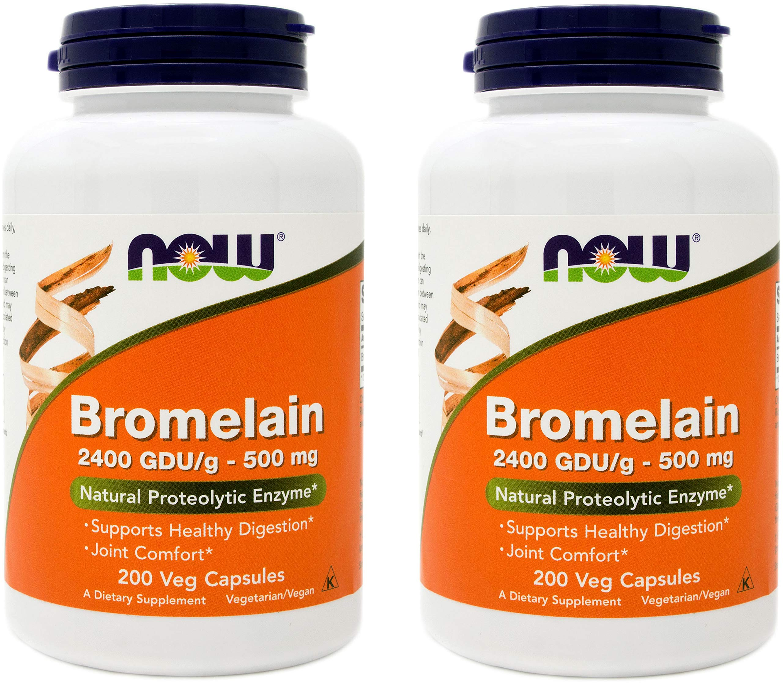 Now Bromelain 500 mg, 200 Veg Capsules (Pack of 2) - Natural Pineapple, Proteolytic Enzyme Supplement, 2400 GDU