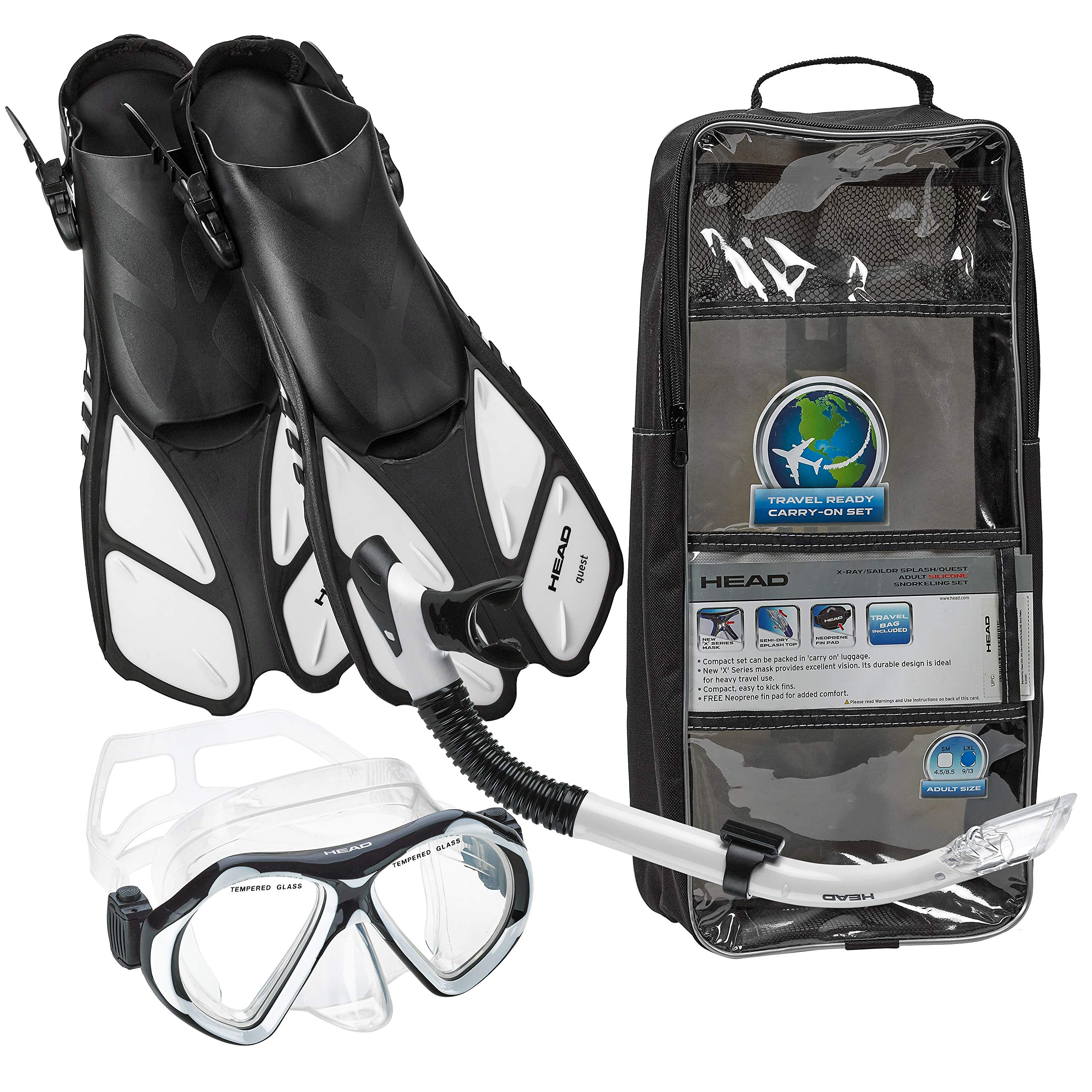 HEAD Italian Collection Sailor Splash Quest Superior Mask Fin Snorkel Set with Snorkeling Gear Bag, White - S/M by HEAD