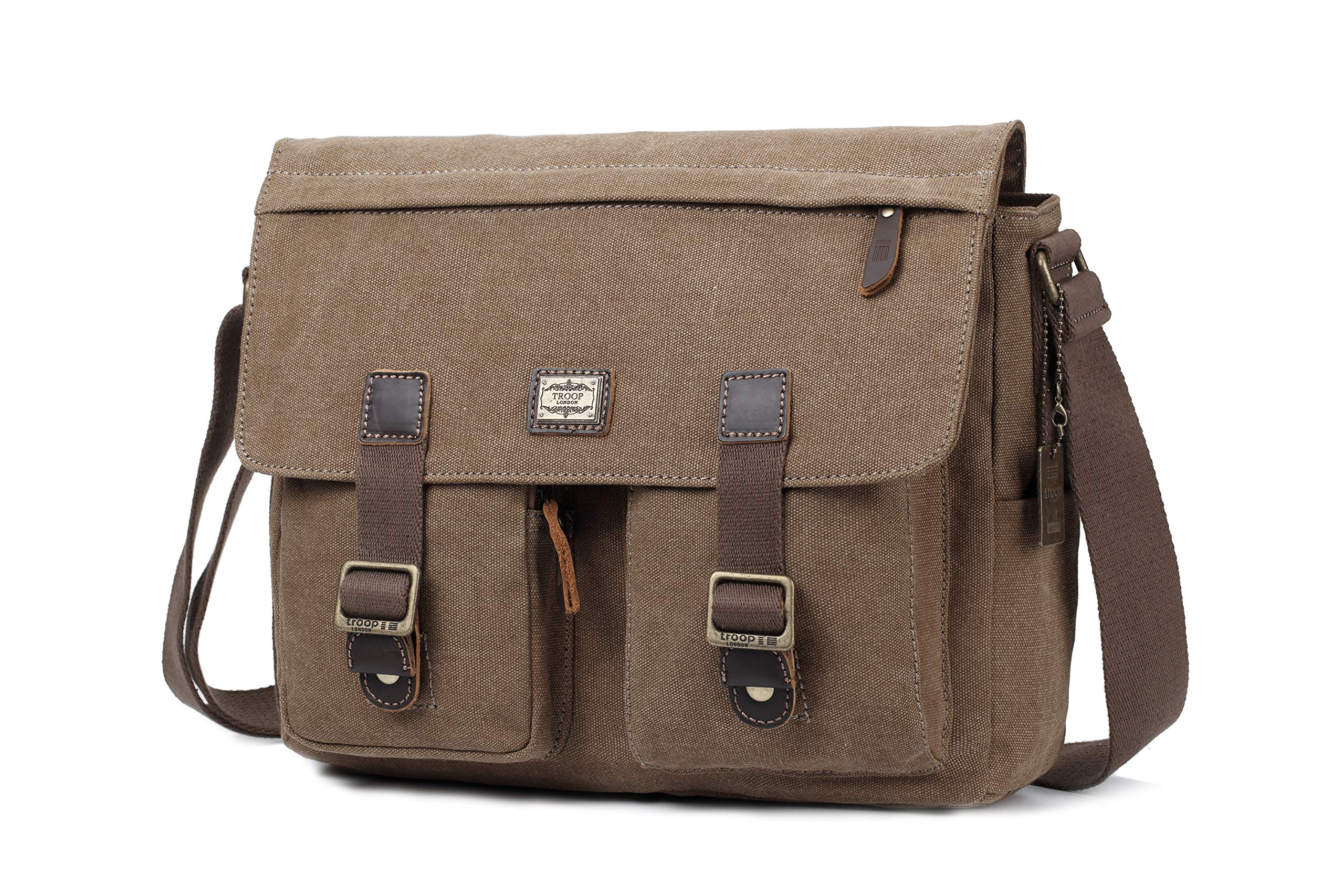 935b24326d20 Troop London Canvas Messenger Bag Fits Up To 15 Inch Laptop Size ...