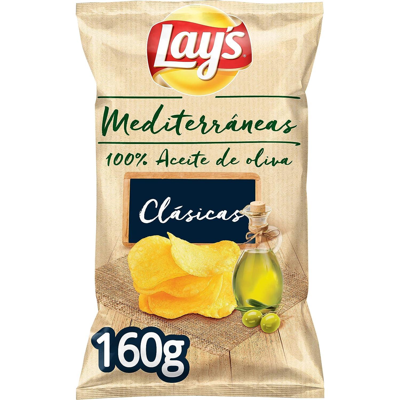 Lays - Mediterráneas, Patatas Fritas, 100% Aceite de Oliva - 160 gr