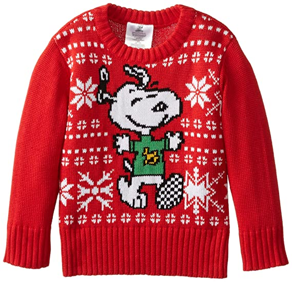 Amazoncom Peanuts Little Boys Snoopy Christmas Sweater Red 2t