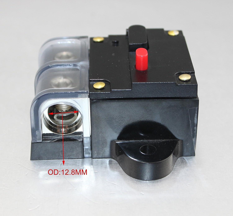 0 Or 4 Gauge 80 AMP Car Stereo 12V Power Circuit Breaker Fuse Holder CB-08-80A