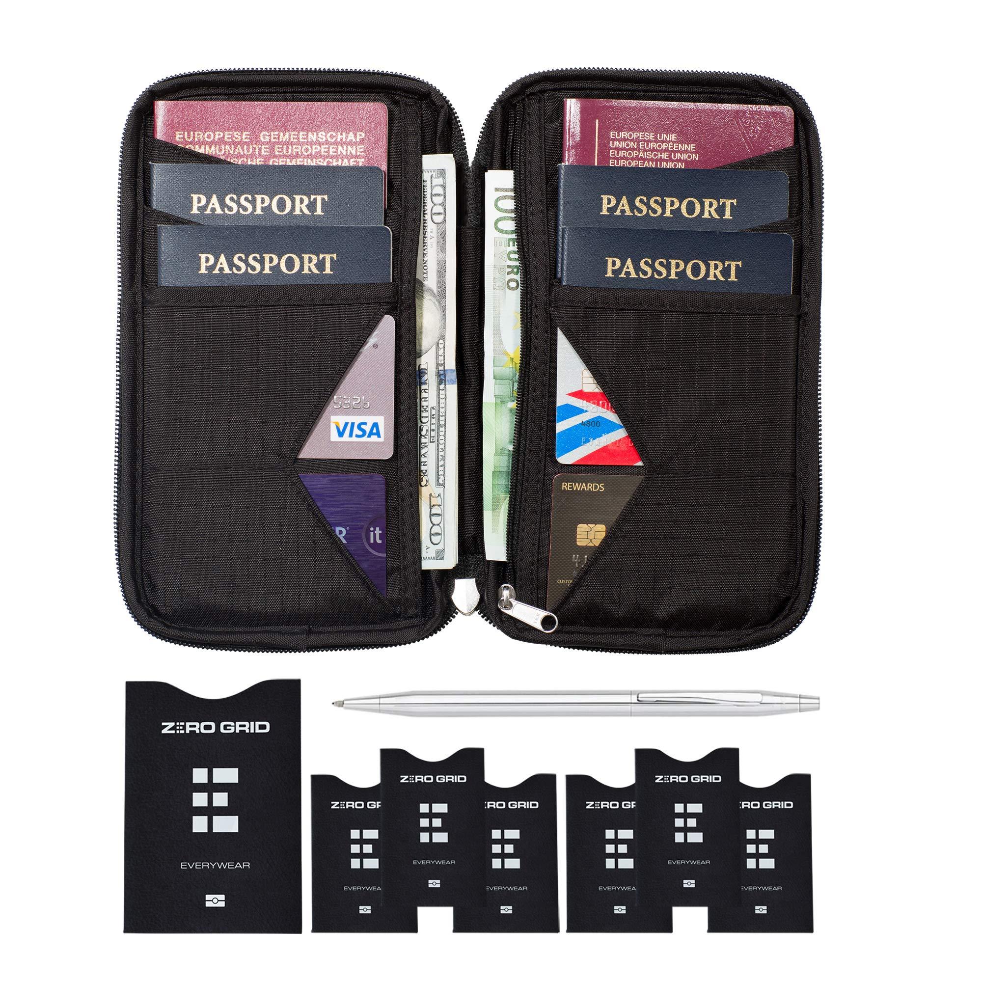 Travel Wallet & Family Passport Holder w/RFID Blocking- Document Organizer Case ... by Zero Grid