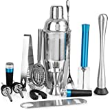 Cubba 13-Piece Barware Set w/Air Pump Wine Opener, Vacuum Wine Stopper, Bartender Kit, Bar Set, Bar Accessories, Bar tools, Home Bar Tools Set, Bar Set Cocktail Shaker Set, Barware set, Barware gifts