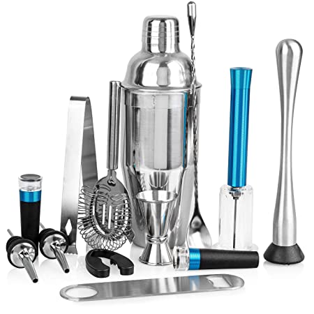 Cubba 13-Piece Barware Set w Air Pump Wine Opener, Vacuum Wine Stopper, Bartender Kit, Bar Set, Bar Accessories, Bar tools, Home Bar Tools Set, Bar Set Cocktail Shaker Set, Barware set, Barware gifts