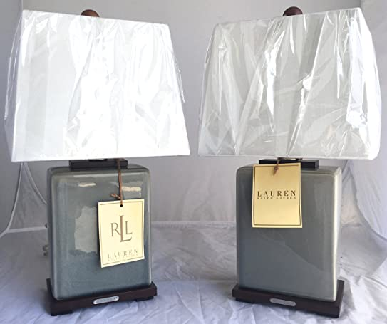 pair of two 2 ralph lauren blue porcelain crackle traditional ceramic table lamps