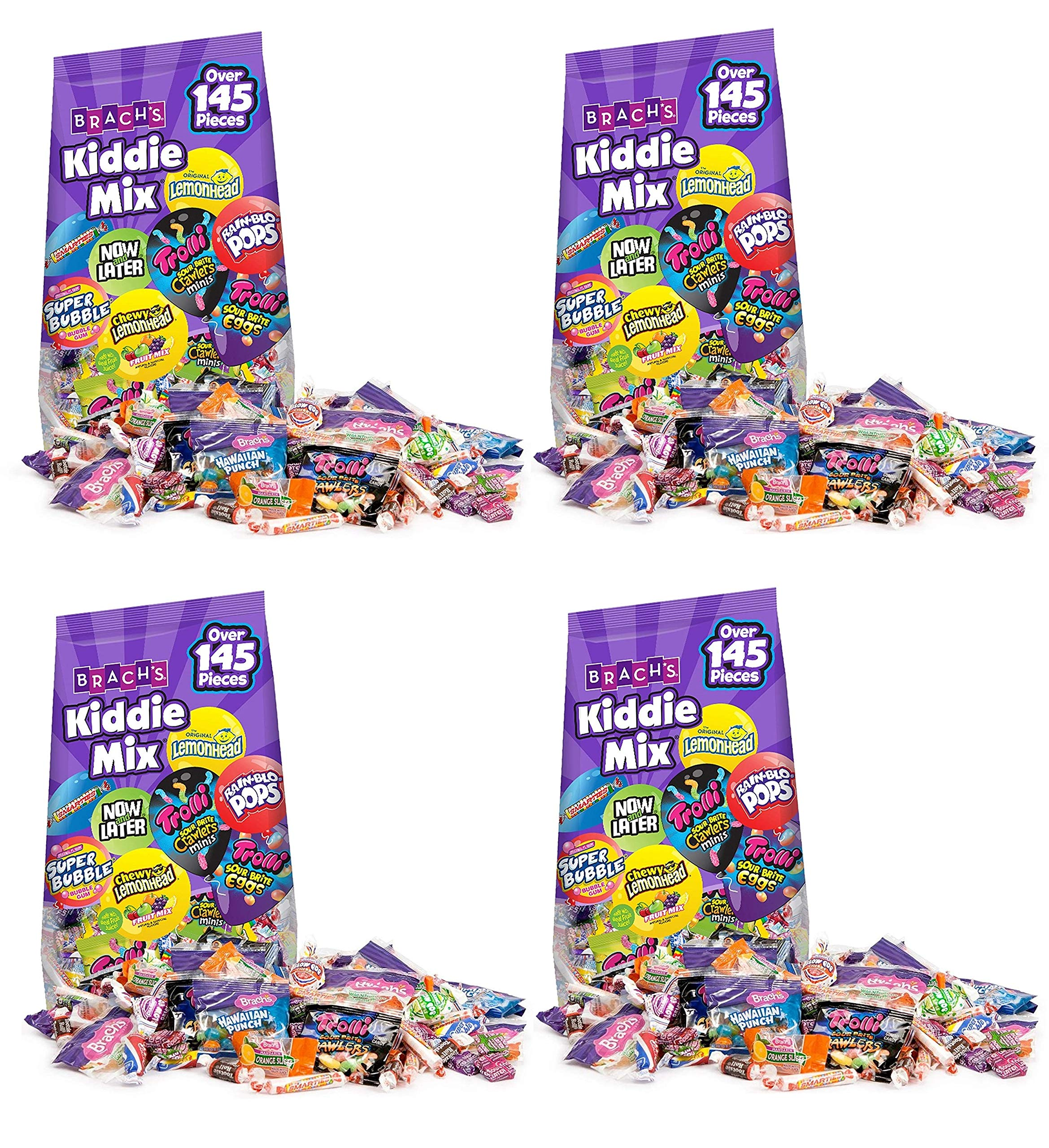 Variety Mix Pack, Assorted Individually Wrapped Halloween Candies -- 145 Pieces Per Pack -- ( 1 Box - 4 Packs - 580 Pieces ) by Brach's