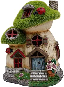 TERESA'S COLLECTIONS Flocked Big and Mini Mushroom House Fairy Garden Statue, Outdoor Resin Statues with Solar Lights, Garden Cottage Figurines for Outdoor Home Yard Decor (8 Inch Tall)