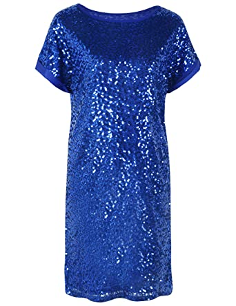 347636515bbf79 PrettyGuide Women s Sequin Cocktail Dress Loose Glitter Short Sleeve Party  Tunic Dress S Blue