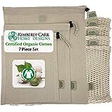 THE ORGANIC COTTON MESH & MUSLIN REUSABLE PRODUCE & BULK BIN BAG SET   Premium Washable Drawstring Bags for Fruits, Veggies, Nuts, Grains   Zero Waste Alternative to Plastic Bags   4 Sizes   7 Bags