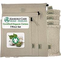 THE ORGANIC COTTON MESH & MUSLIN REUSABLE PRODUCE & BULK FOOD BIN BAG SET, Premium Washable Drawstring Bags for Fruits, Veggies, Nuts, Grains, Zero Waste Alternative to Plastic Bags, 7 Pieces, 4 Sizes