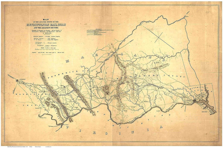 Amazon.com: Railroad Map of Montgomery & Frederick Counties ...