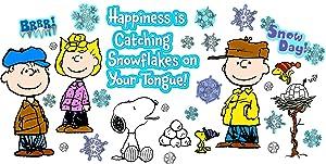 Eureka Classroom Bulletin Board Set, Peanuts Happiness Is A Snowflake Winter Bulletin, 18'' x 28'', 39 pc.