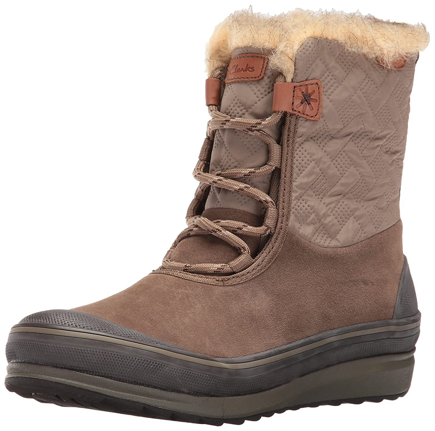 CLARKS Women's Muckers Mist Snow Boot B0195HRY0W 7.5 B(M) US|Brown Suede/Textile
